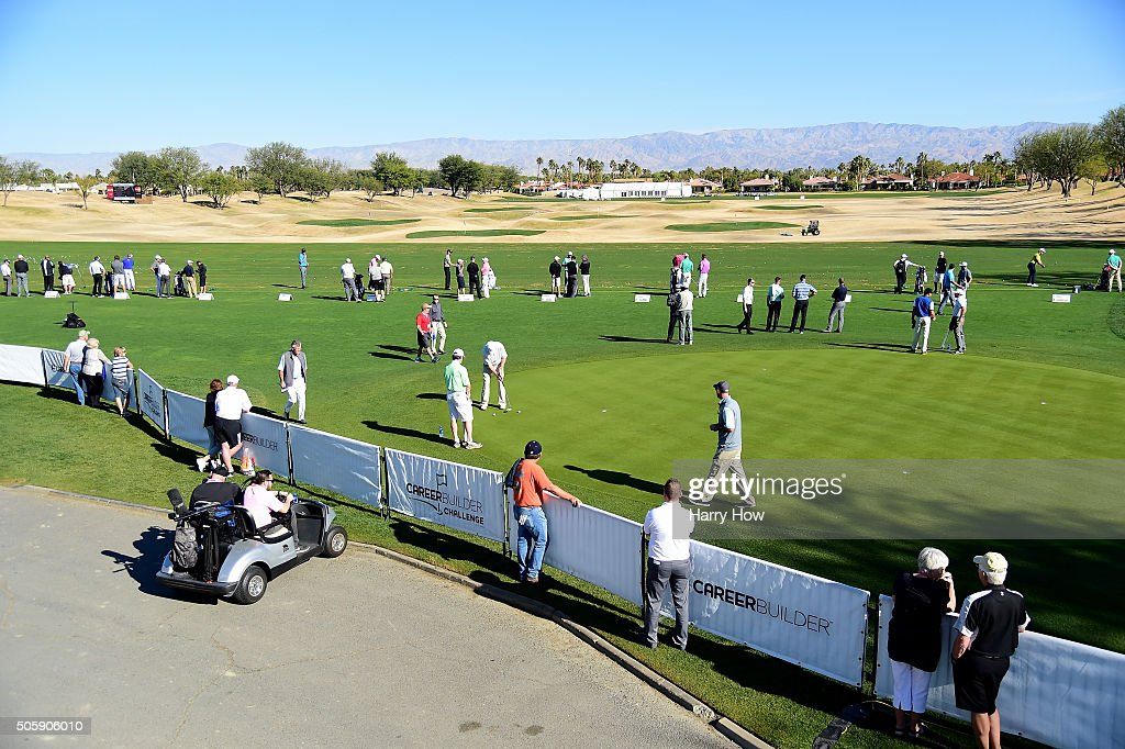 View of the driving range and practice green during preview for the CarerrBuilder Challenge In Partnersihip With The Clinton Foundation at the TPC Stadium Course at PGA West on January 20, 2016 in La Quinta, California.