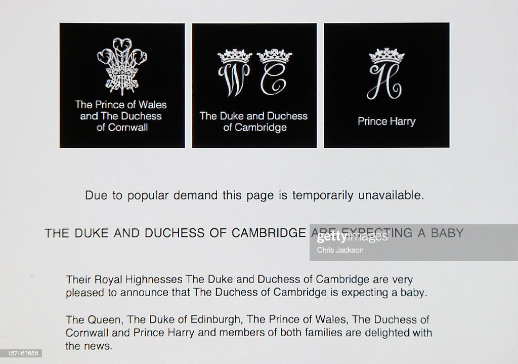 A view of the Duke and Duchess of Cambridge's Official website after it went down due to high demand when the couple announced the pregnancy of Catherine, Duchess of Cambridge on December 3, 2012 in London, England.