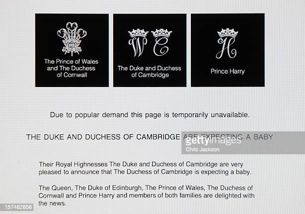 A view of the Duke and Duchess of Cambridge's Official website after it went down due to high demand when the couple announced the pregnancy of...