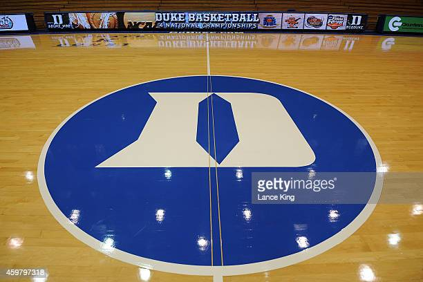 A view of the Duke logo at center court at Cameron Indoor Stadium on November 30 2014 in Durham North Carolina