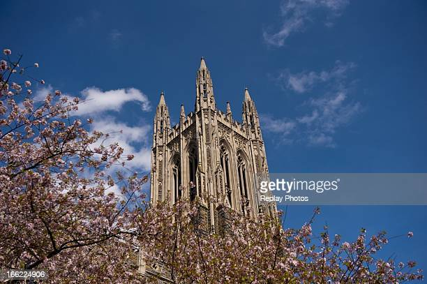 A view of the Duke University Chapel on campus of Duke University on April 9 2013 in Durham North Carolina