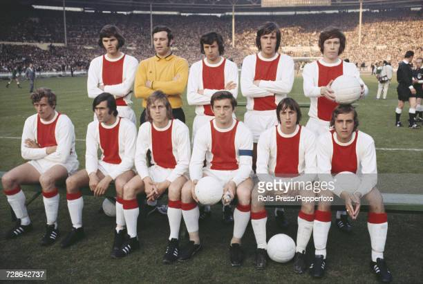 View of the Dutch football team Ajax posed together on the pitch prior to competing against Panathinaikos of Greece in the 1971 European Cup Final...
