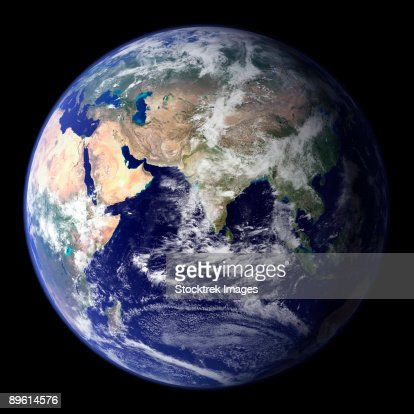 View of the Earth from space showing the eastern hemisphere. : Stock-Foto