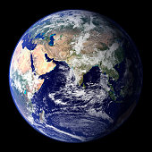 View of the Earth from space showing the eastern hemisphere.