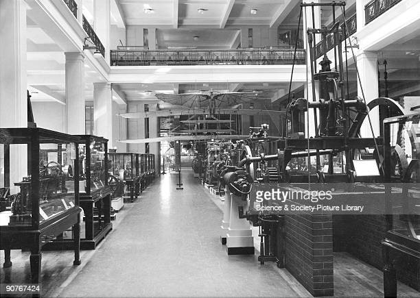 View of the East Hall of the Science Museum London looking towards the Aeronautics gallery includes the original Wright Flyer the aeroplane in which...