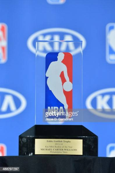 A view of the Eddie Gottlieb Trophy that Michael CarterWilliams of the Philadelphia 76ers received for being named the 201314 Kia NBA Rookie of the...