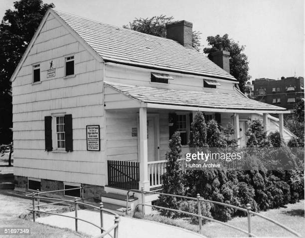View of the Edgar Allan Poe Cottage at Kingsbridge Road and the Grand Concourse in the Bronx the house where the poet and author lived from 1846...