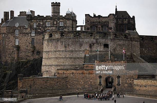 A view of the Edinburgh Castle situated at the top of the Royal Mile on February 21 2012 in Edinburgh Scotland A favourite with visitors and one of...
