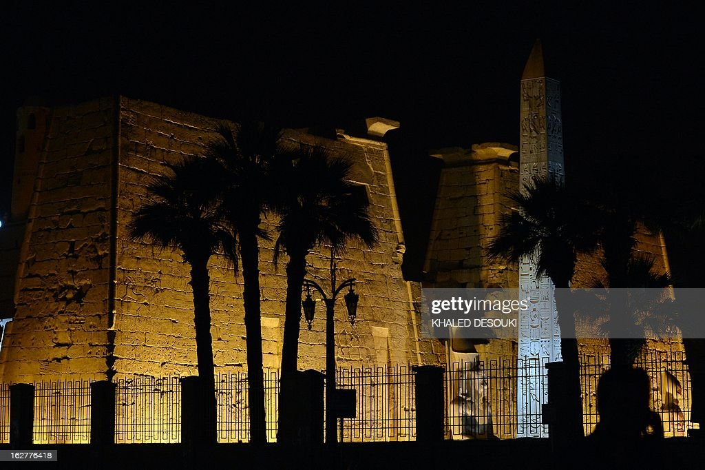 View of the Egyptian Luxor temple on February 26, 2013 where a hot-air balloon exploded and fell on the ground in Luxor during a sunrise flight, killing up to 19 tourists, including Asians and Europeans, sources said.