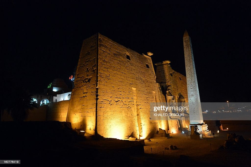 View of the Egyptian Luxor temple on February 26, 2013 where a hot-air balloon exploded and fell on the ground in Luxor during a sunrise flight, killing up to 19 tourists, including Asians and Europeans, sources said. AFP PHOTO / KHALED DESOUKI