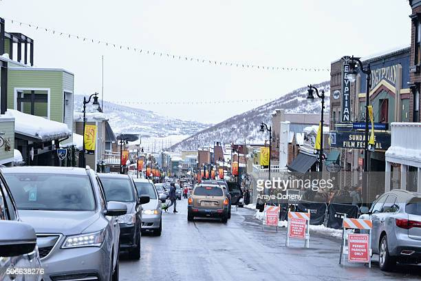 A view of the Egyptian Theatre on Main Street and outdoor atmosphere during 2016 Sundance Film Festival on January 24 2016 in Park City Utah