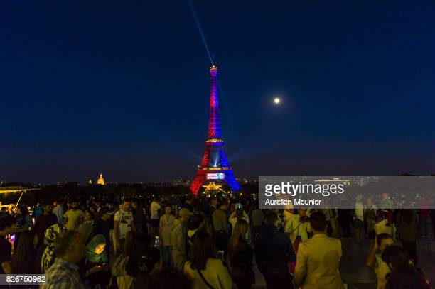 A view of the Eiffel Tower illuminated in the colors of Paris SaintGermain to welcome Neymar on August 5 2017 in Paris France