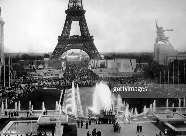 View of the Eiffel tower in July 1937 during the 1937 World exhibition or Exposition Internationale des Arts et Techniques dans la Vie Moderne which...