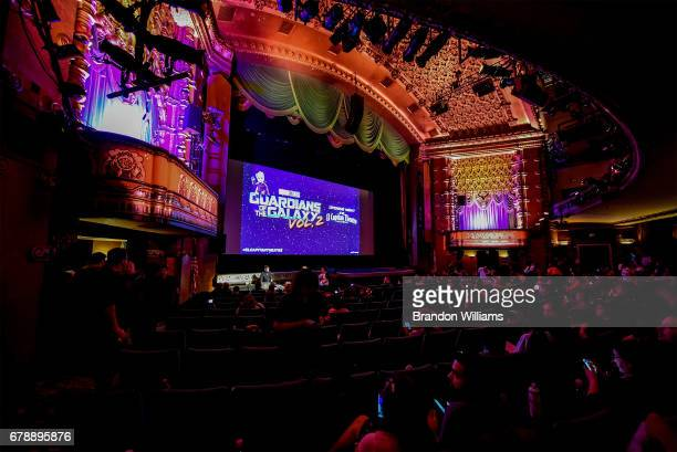 A view of the El Capitan Theatre where the screening of Disney and Marvel Studios' 'Guardians of the Galaxy Vol 1' and 'Guardians of the Galaxy Vol...