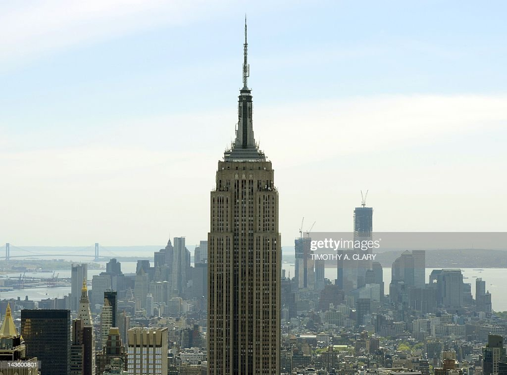 A view of the Empire State Building and One World Trade Center as seen from the Top of the Rock Observation Deck at Rockefeller Center April 30 2012...