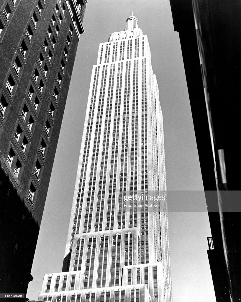 View of the Empire State Building, New York, New York, 1946.