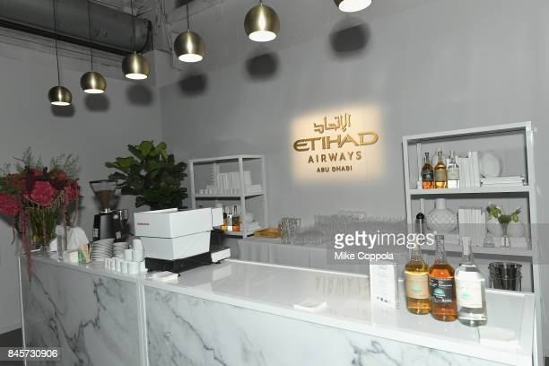 A view of the empty Etihad Airways bar in the empty Etihad Airways lounge September 2017 New York Fashion Week The Shows Day 5 on September 11 2017...