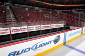 A view of the empty Flyers bench dasher boards arena and ice surface prior to a NHL game between the Philadelphia Flyers and the New York Rangers on...