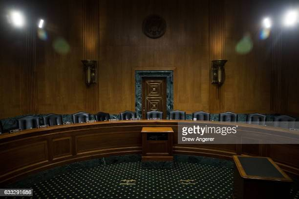 A view of the empty hearing room after a meeting of the Senate Finance Committee to vote on the nominations of cabinet nominees Tom Price and Steve...