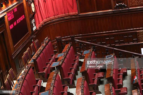 A view of the empty sector reserved to the CentreRight coalition of the Italian Chamber of Deputies as Parliament votes for President of Republic on...