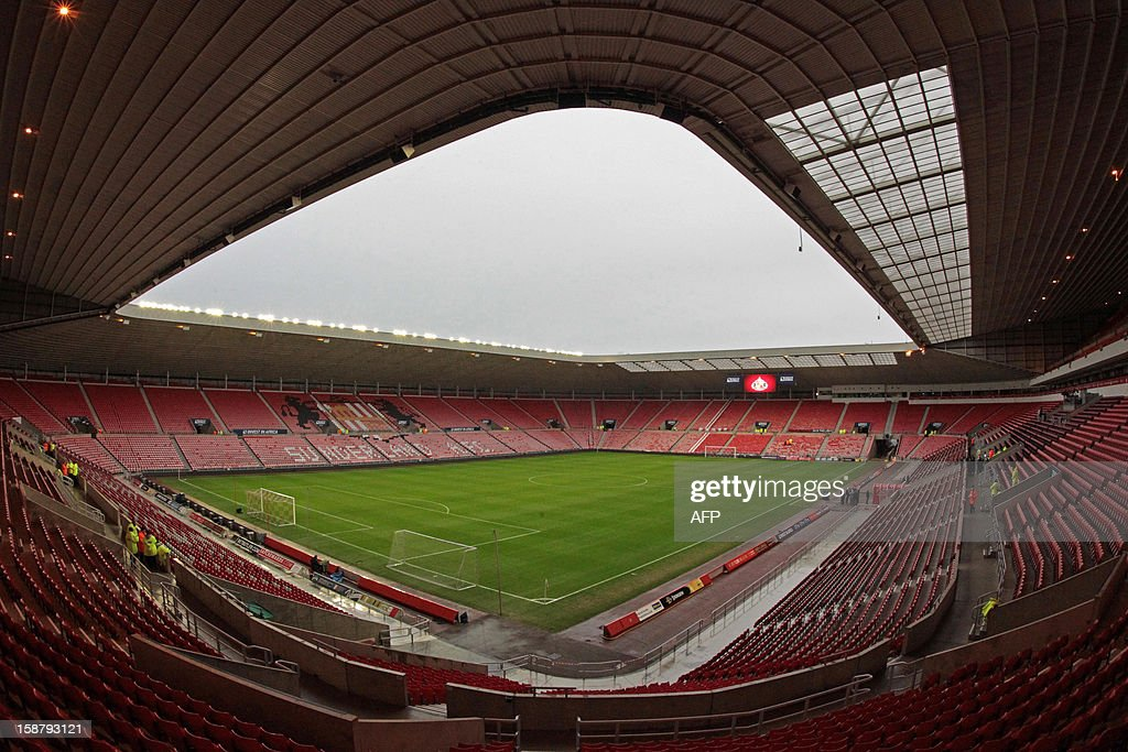 "View of the empty stands and pitch at Sunderland's Stadium of Light ahead of the English Premier League football match between Sunderland and Tottenham Hotspur in Sunderland, north-east England on December 29, 2012. USE. No use with unauthorized audio, video, data, fixture lists, club/league logos or ""live"" services. Online in-match use limited to 45 images, no video emulation. No use in betting, games or single club/league/player publications."