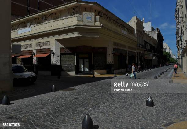 View of the empty streets of Buenos Aires' city centre during the national CGT strike and the CTA against the economic policies of President Mauricio...