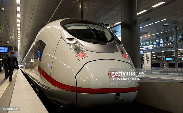 View of the engine of a Siemens InterCity Express 3 train during a presentation of the last of 8 new ICE 3 trains recently delivered to DB at...