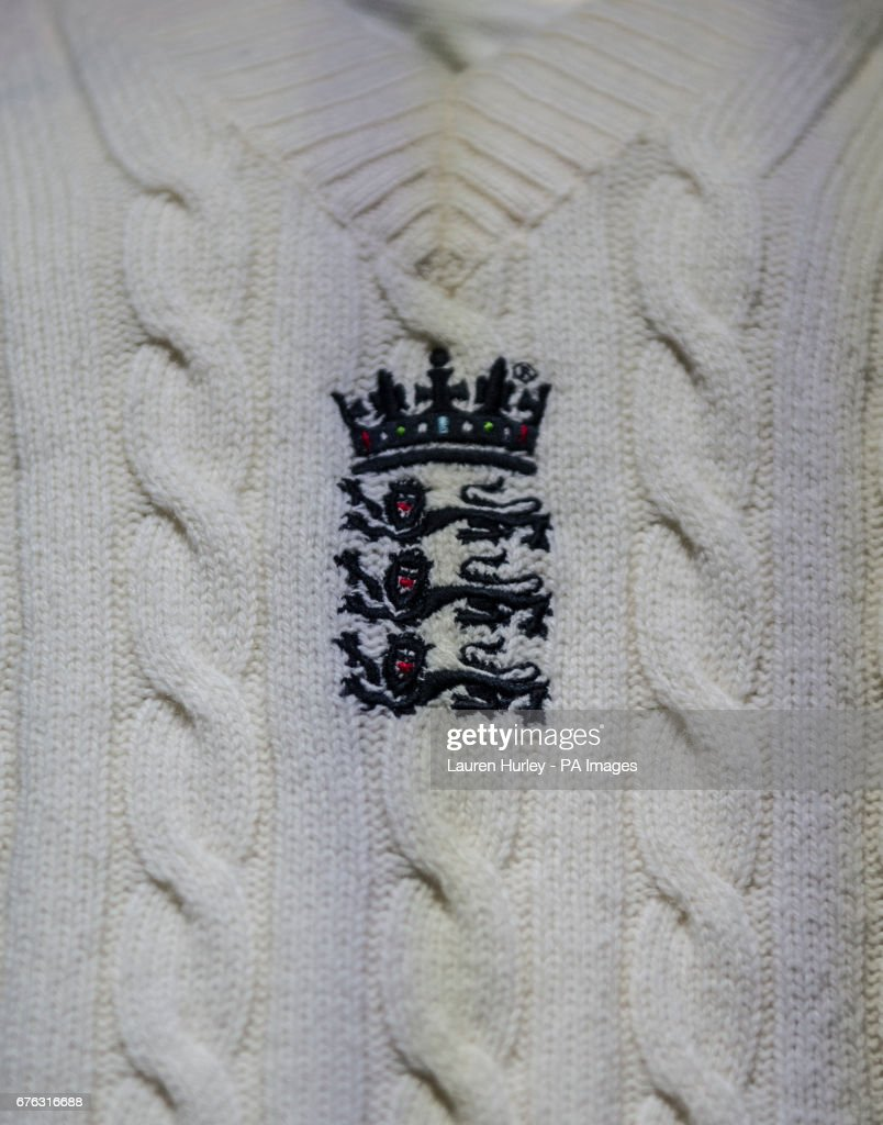 new balance jumper. a view of the england badge on jumper during kit launch at new balance