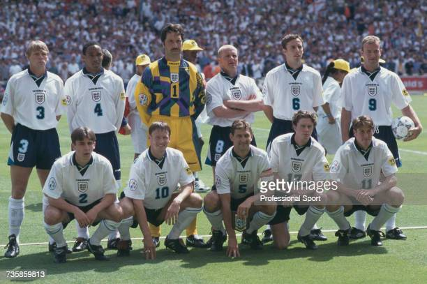 View of the England national football team squad pictured together on the pitch prior to the group A game between Scotland and England during the...