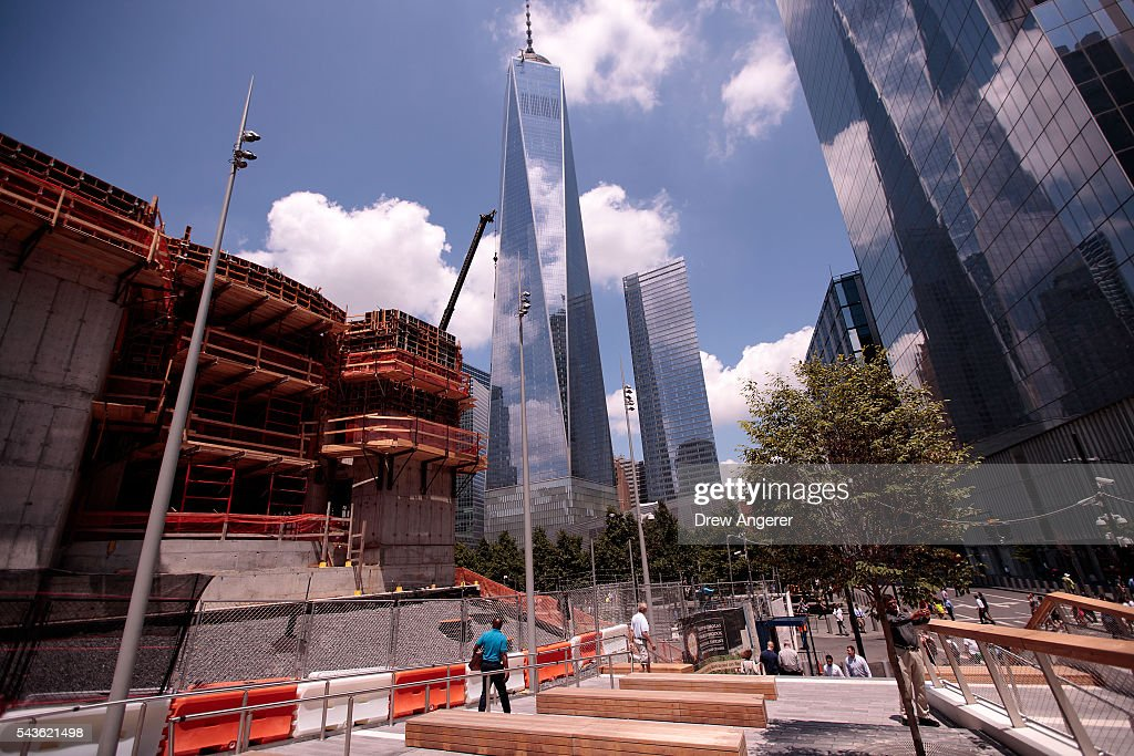 A view of the entrance area to the newly opened Liberty Park in Lower Manhattan, June 29, 2016 in New York City. Liberty Park, elevated above Liberty Street in Lower Manhattan, overlooks the National September 11 Memorial Plaza and One World Trade Center. The one-acre, $50 million park will be open to the public every day from 6 in the morning to 11 at night.