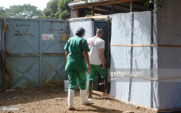 View of the entrance of a zone where people suspected of suffering of Ebola fever are isolated at the Donka hopital where several cases where...