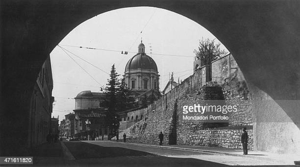 'View of the entrance of the tunnel leading to the Castle of Brescia Brescia 1950s '
