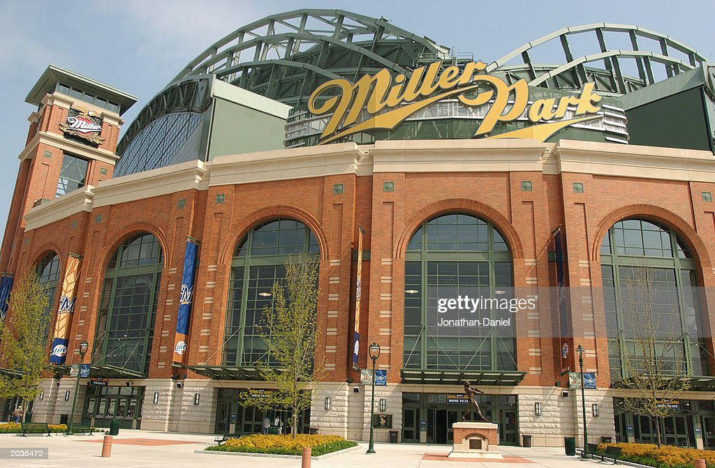 A view of the entrance to Miller Park before the game between the Milwaukee Brewers and the Cincinnati Reds on May 17 2003 in Milwaukee Wisconsin The...