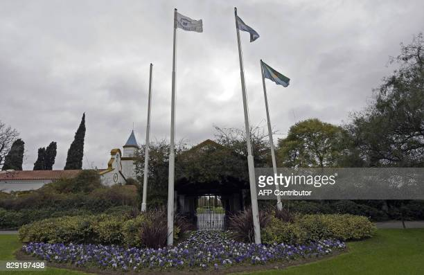 View of the entrance to the chapel at the Memorial park on August 10 2017 in Pilar Buenos Aires outskirts where Jorge Zorreguieta father of...