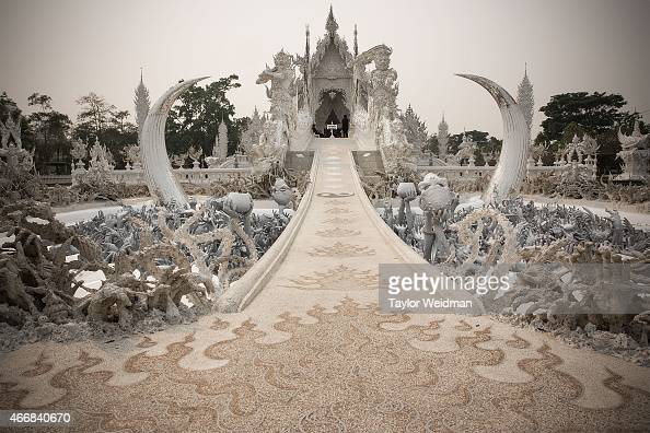 A view of the entrance to Wat Rong Khun on March 19 2015 in Chiang Rai Thailand After an incident last month Wat Rong Khun refused entry to Chinese...