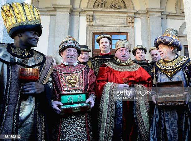 A view of The Epiphany Parade In Milan on January 6 2012 in Milan Italy People dressed as the Three Kings celebrate the Three Kings day as part of...