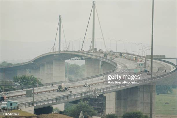 View of the Erskine Bridge a cablestayed box girder bridge linking Renfrewshire and West Dunbartonshire across the River Clyde in Scotland in the...