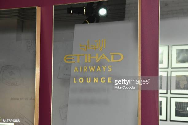 A view of the Etihad Airways mirror in the Etihad Airways lounge September 2017 New York Fashion Week The Shows Day 5 on September 11 2017 in New...