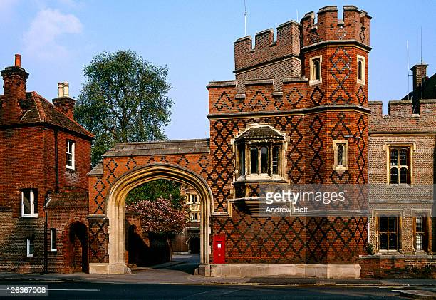 A view of the Eton College Gateway, Berkshire. Eton College was founded in 1440 by King Henry VI. The College originally had 70 King's Scholars or 'Collegers' who lived in the College and were educated free, and a small number of 'Oppidans' who l