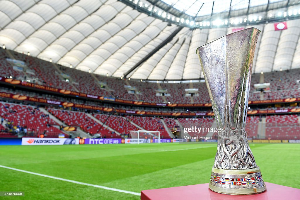 A view of the Europa League trophy taken prior to the UEFA Europa League Final match between FC Dnipro Dnipropetrovsk and FC Sevilla on May 27 2015...