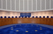 A view of the European Court of Human Rights taken before the audience during which the court ruled that the detention of Ukrainian opposition leader...
