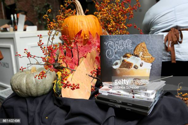 A view of the 'Every Day is a Sundae' cookbook on display during Family Ice Cream Fundae hosted by Mario Batali and Ayesha Curry at Private Park at...