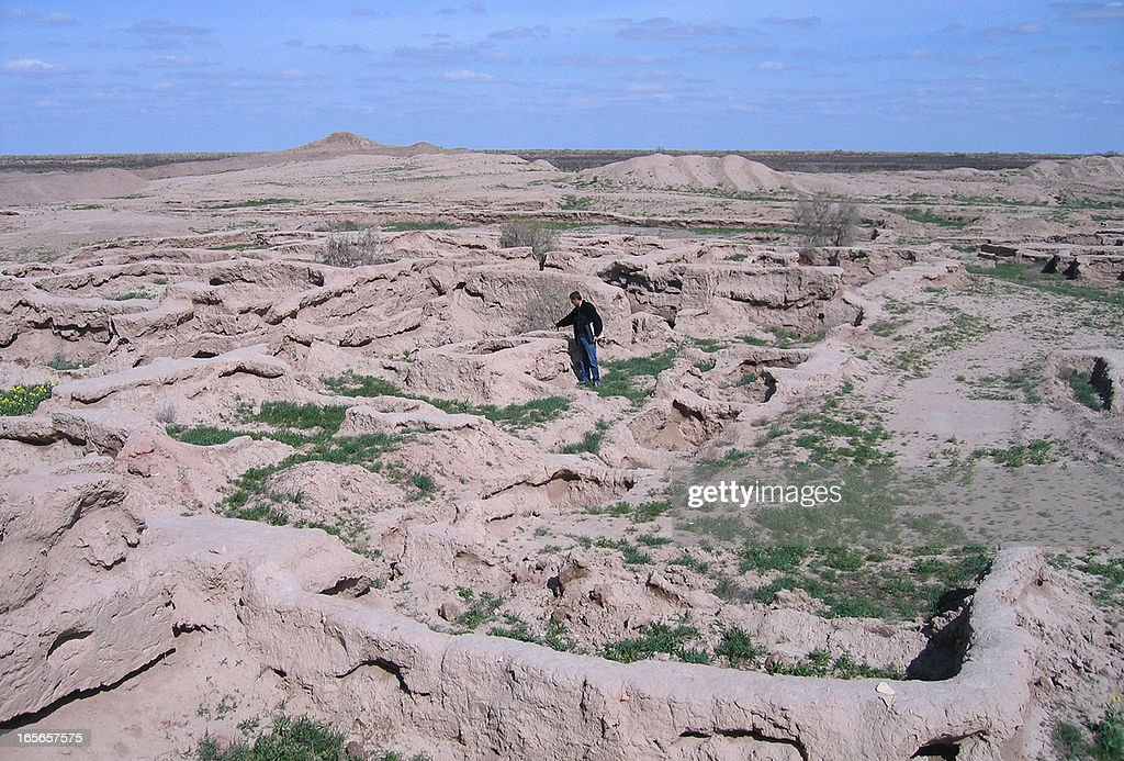A view of the excavated ancient fortress town of Gonur-Tepe 50 km outside the modern city of Mary in the Kara Kum desert in remote western Turkmenistan, on April 2, 2013. After being uncovered by Soviet archaeologist Viktor Sarianidi in the last century, the former fortress town of Gonur-Tepe is gradually revealing its mysteries to the world with new artifacts being uncovered on every summer dig. AFP PHOTO