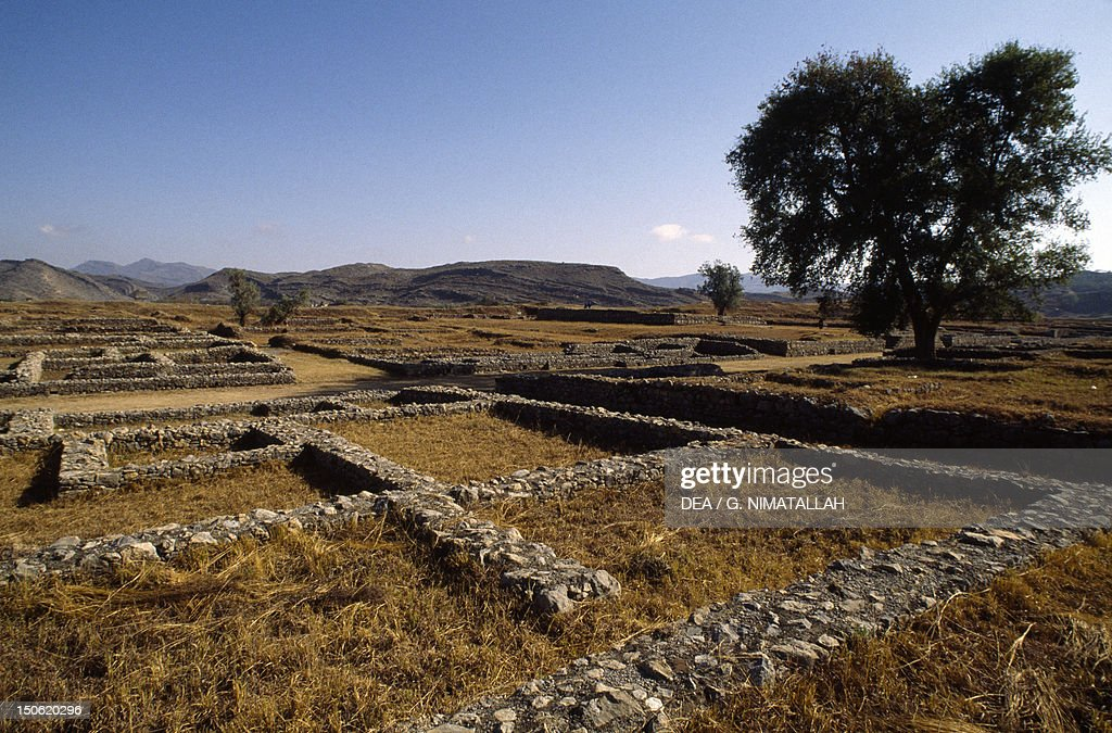 View of the excavations of the ancient Sirkap archaeological site of today's Taxila Pakistan Indus civilization 2nd century BC