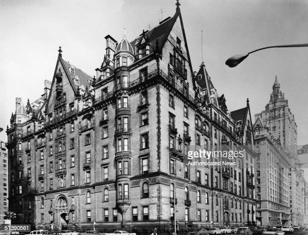 View of the exclusive Dakota apartment building on the corner of West 72d Street and Central Park West in New York City 1960 The building designed by...