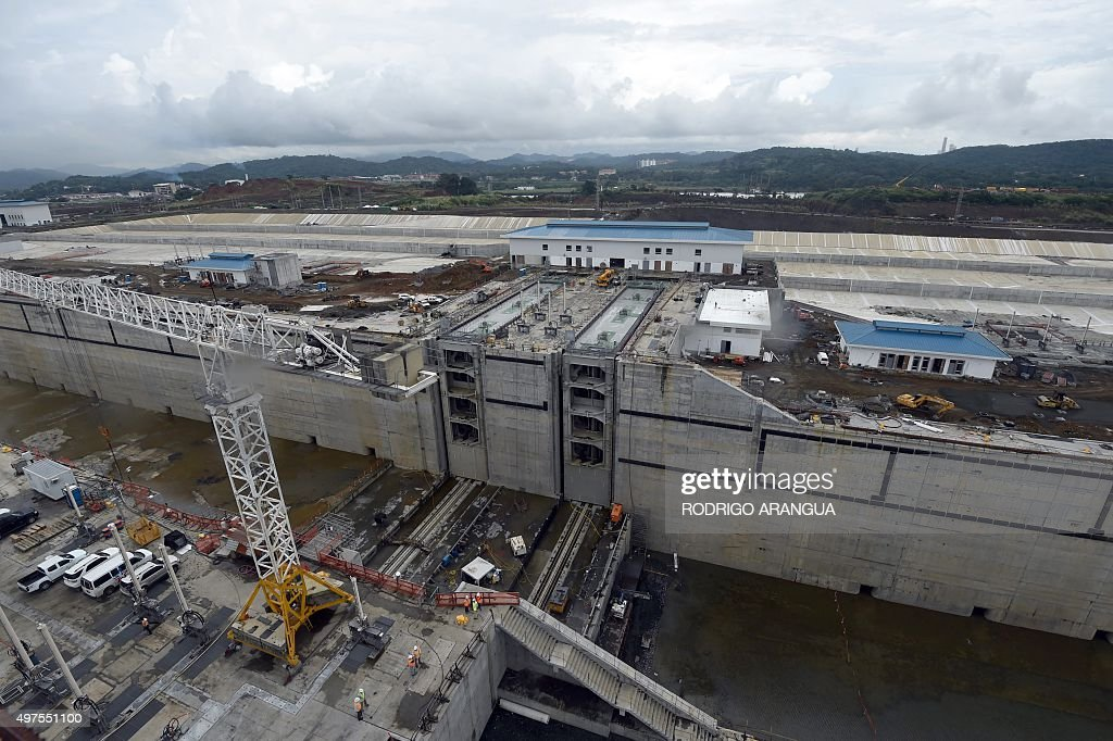 View of the expansion works underway at the Panama Canal's new Cocoli Locks near the Pacific Ocean on November 17 2015 in Panama City AFP PHOTO /...