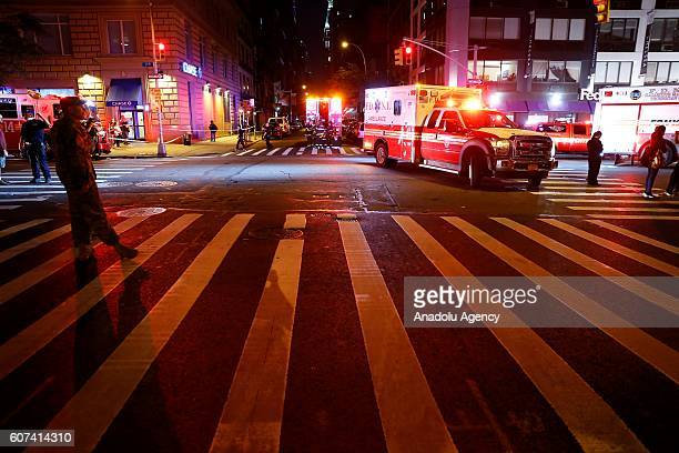 A view of the explosion site at Chelsea neighbourhood in Manhattan New York USA on September 17 2016