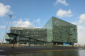 A view of the exterior of Harpa Concert Hall during Reykjavik Fashion Festival 2015 on March 14 2015 in Reykjavik Iceland