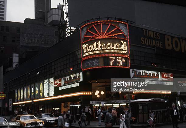 A view of the exterior of Nathan's Backroom Restaurant in Times Square circa 1976 in New York City New York