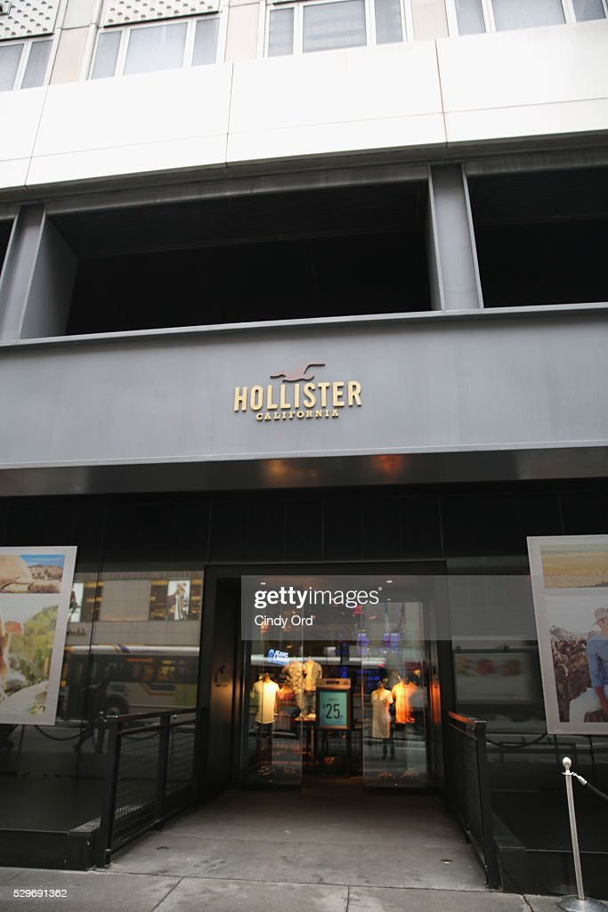 A view of the exterior of the Hollister retail store during the Hollister and Sabrina Carpenter DIY instore event on May 7 2016 in New York City